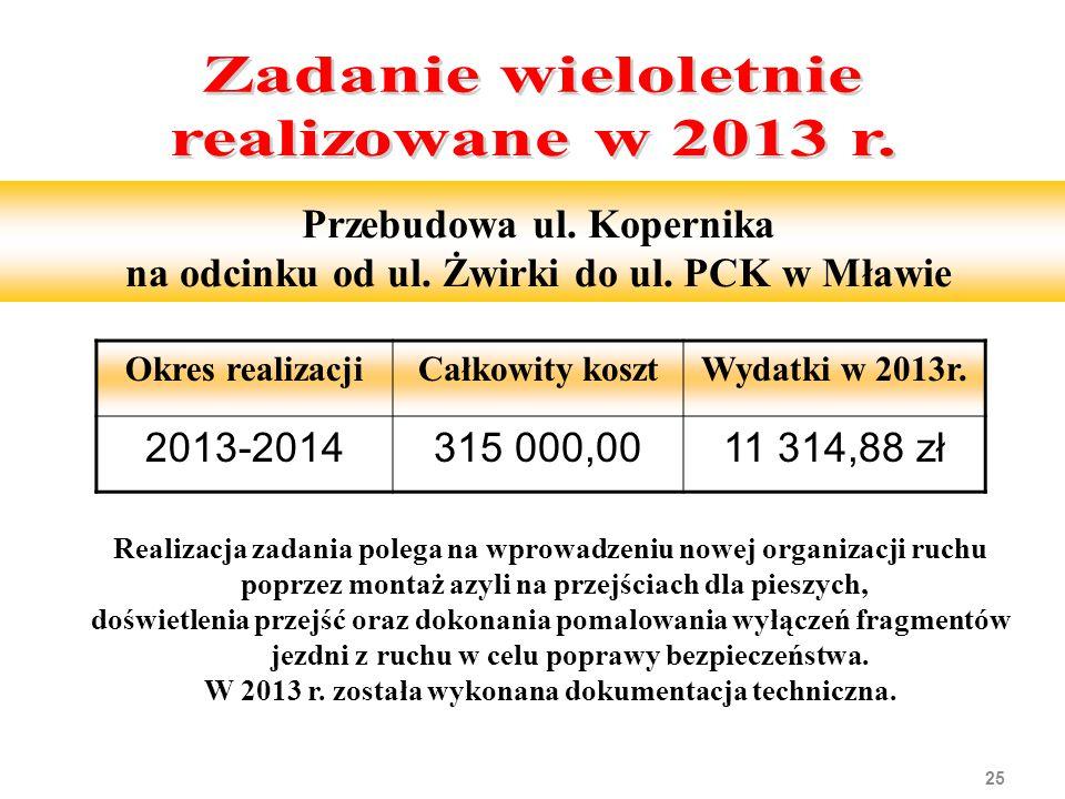 25 Przebudowa ul. Kopernika na odcinku od ul. Żwirki do ul. PCK w Mławie Realizacja zadania polega na wprowadzeniu nowej organizacji ruchu poprzez mon