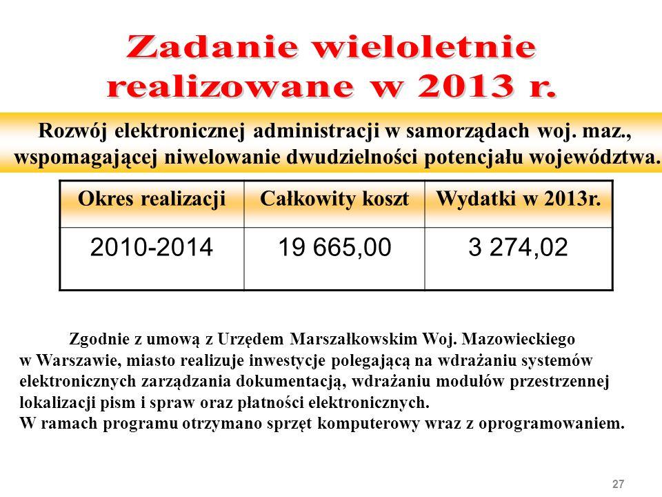 27 Rozwój elektronicznej administracji w samorządach woj. maz., wspomagającej niwelowanie dwudzielności potencjału województwa. Zgodnie z umową z Urzę