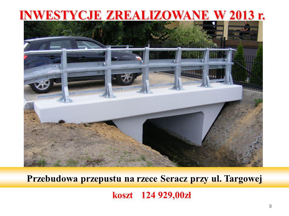 koszt 124 929,00zł 9 Przebudowa przepustu na rzece Seracz przy ul. Targowej