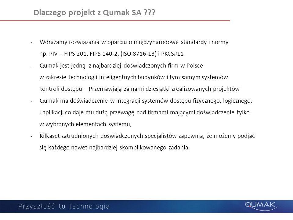 Dlaczego projekt z Qumak SA ??? -Wdrażamy rozwiązania w oparciu o międzynarodowe standardy i normy np. PIV – FIPS 201, FIPS 140-2, (ISO 8716-13) i PKC