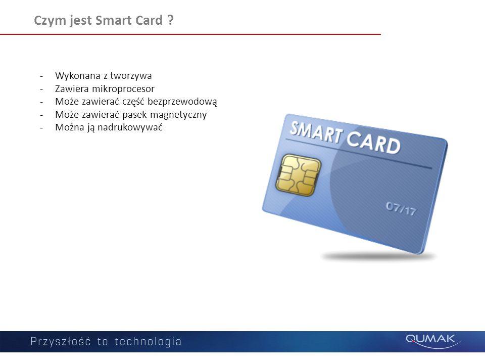 Czym jest Smart Card ? -Wykonana z tworzywa -Zawiera mikroprocesor -Może zawierać część bezprzewodową -Może zawierać pasek magnetyczny -Można ją nadru