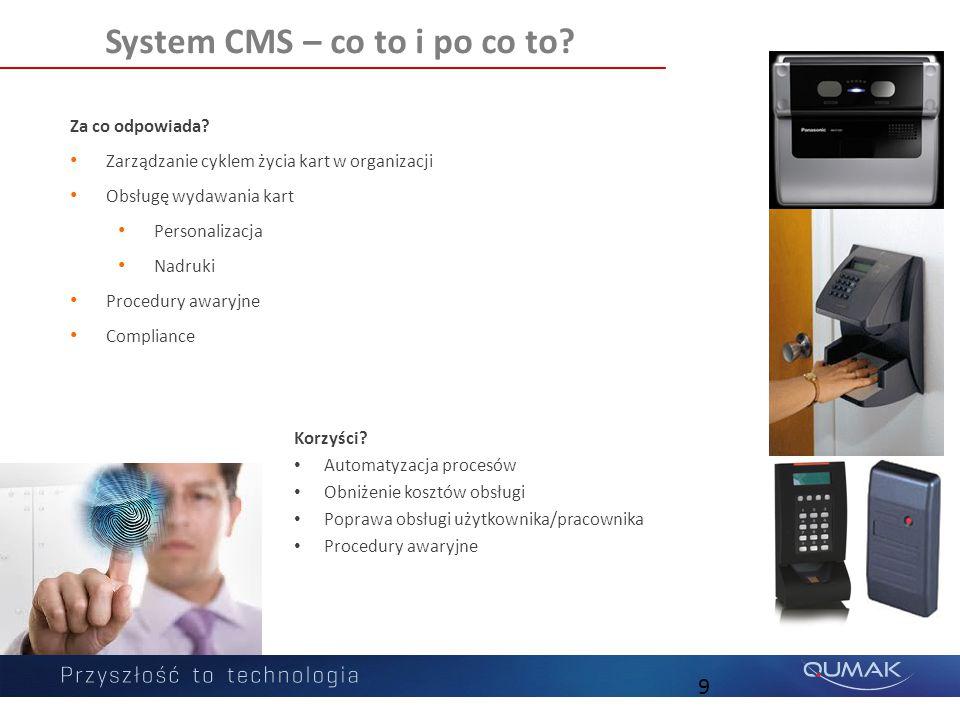 9 Za co odpowiada? Zarządzanie cyklem życia kart w organizacji Obsługę wydawania kart Personalizacja Nadruki Procedury awaryjne Compliance System CMS