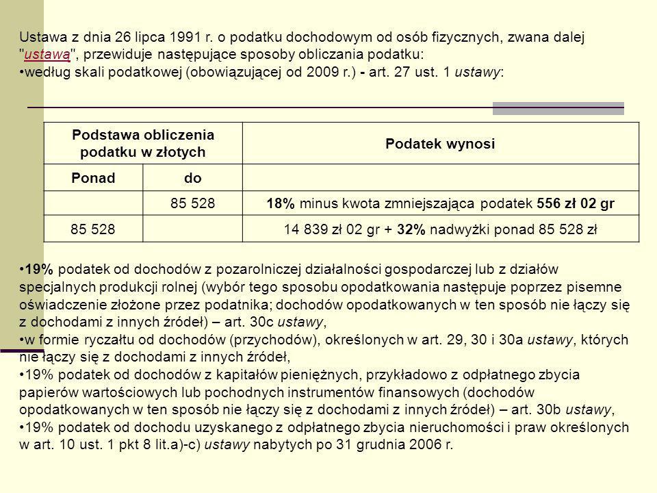 Ustawa z dnia 26 lipca 1991 r. o podatku dochodowym od osób fizycznych, zwana dalej