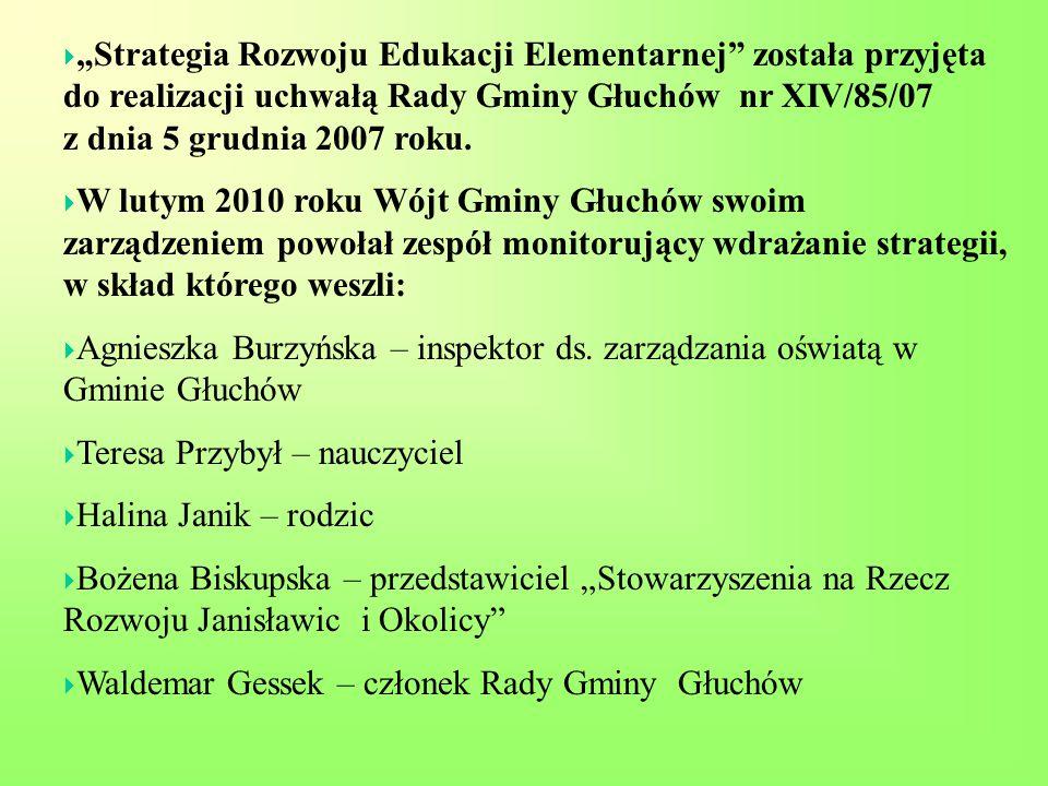 """ """"Strategia Rozwoju Edukacji Elementarnej została przyjęta do realizacji uchwałą Rady Gminy Głuchów nr XIV/85/07 z dnia 5 grudnia 2007 roku."""
