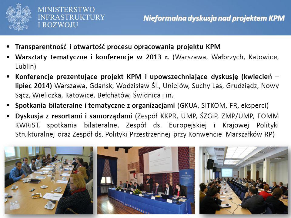 Nieformalna dyskusja nad projektem KPM  Transparentność i otwartość procesu opracowania projektu KPM  Warsztaty tematyczne i konferencje w 2013 r. (