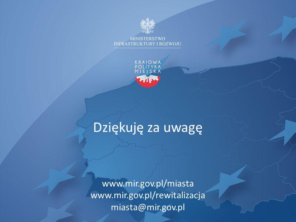 Dziękuję za uwagę www.mir.gov.pl/miasta www.mir.gov.pl/rewitalizacja miasta@mir.gov.pl
