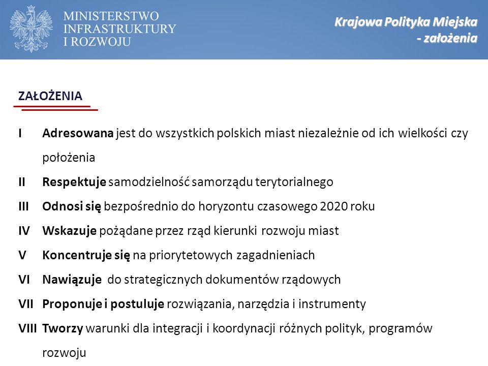 Krajowa Polityka Miejska - założenia IAdresowana jest do wszystkich polskich miast niezależnie od ich wielkości czy położenia IIRespektuje samodzielno