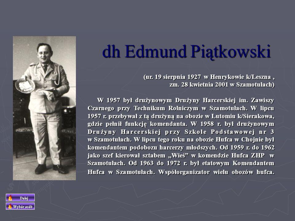 (ur. 9 sierpnia 1932 w Poznaniu) W latach 1957 – 1972 drużynowa 35 DH im. Marii Curie-Skłodowskiej w Pamiątkowe, a od 1974 r. do 1991 r. komendant Szc