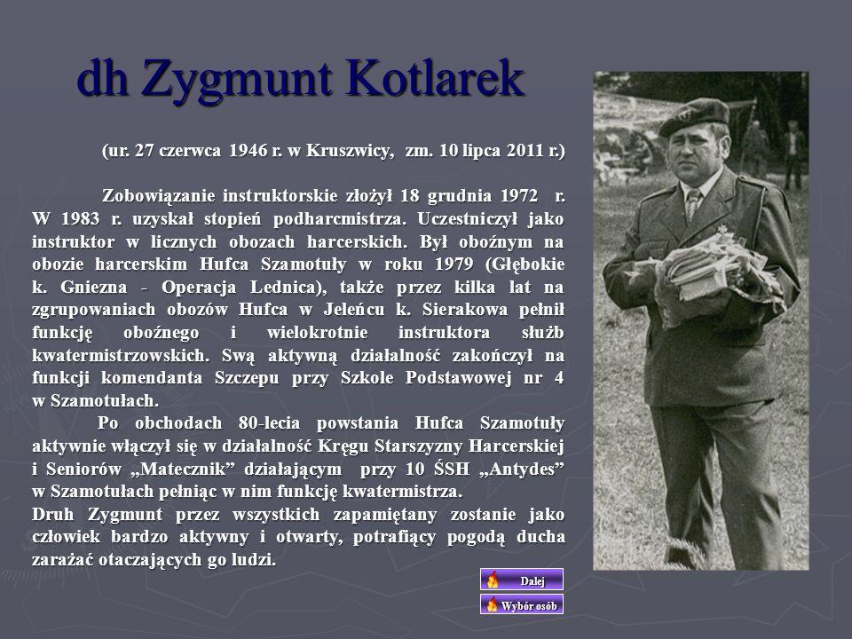dh. Barbara Kotlarek dh. Barbara Kotlarek (ur. 17 listopada 1945 r. w Szamotułach, zm. 1 marca 2012 r.) Zobowiązanie instruktorskie złożyła 26 listopa