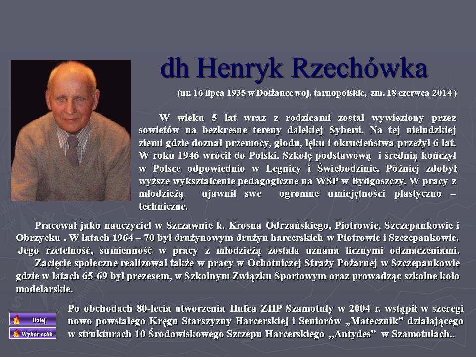 dh Marian Różański (ur. 24 stycznia 1934, zm. 02 stycznia 2001 ) Działał w Hufcu Szamotuły od początku lat 70-tych. Wielki miłośnik przyrody, której p