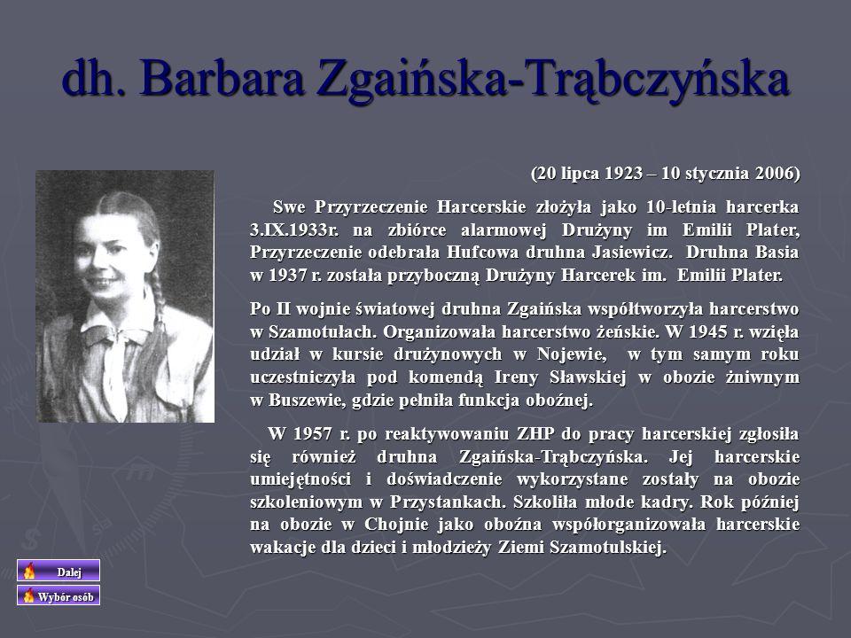 dh Stanisław Zgaiński (ur. 28 kwietnia 1907 w Kruszewie k/Czarnkowa) Nauczyciel najpierw w Kaźmierzu (1926) a następnie od roku 1928 w Szamotułach. W