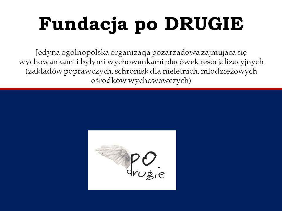 Fundacja po DRUGIE Jedyna ogólnopolska organizacja pozarządowa zajmująca się wychowankami i byłymi wychowankami placówek resocjalizacyjnych (zakładów poprawczych, schronisk dla nieletnich, młodzieżowych ośrodków wychowawczych)