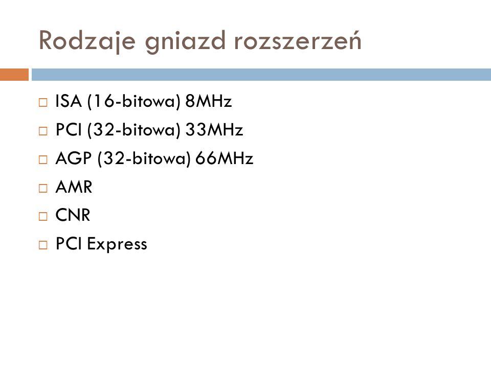 Rodzaje gniazd rozszerzeń  ISA (16-bitowa) 8MHz  PCI (32-bitowa) 33MHz  AGP (32-bitowa) 66MHz  AMR  CNR  PCI Express