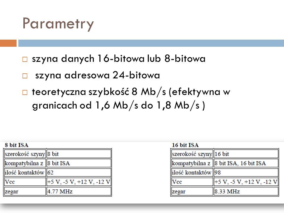Parametry  szyna danych 16-bitowa lub 8-bitowa  szyna adresowa 24-bitowa  teoretyczna szybkość 8 Mb/s (efektywna w granicach od 1,6 Mb/s do 1,8 Mb/