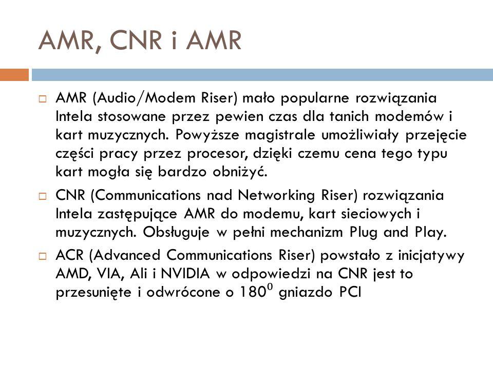 AMR, CNR i AMR  AMR (Audio/Modem Riser) mało popularne rozwiązania Intela stosowane przez pewien czas dla tanich modemów i kart muzycznych. Powyższe