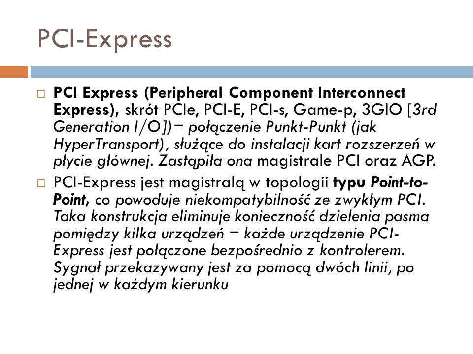 PCI-Express  PCI Express (Peripheral Component Interconnect Express), skrót PCIe, PCI-E, PCI-s, Game-p, 3GlO [3rd Generation I/O]) − połączenie Punkt
