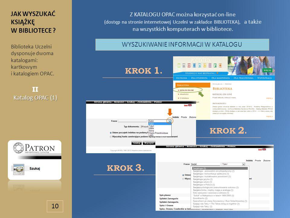 Z KATALOGU OPAC można korzystać on-line (dostęp na stronie internetowej Uczelni w zakładce BIBLIOTEKA), a także na wszystkich komputerach w bibliotece.