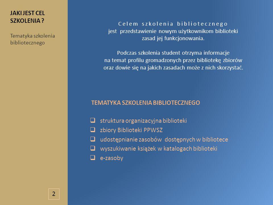 Celem szkolenia bibliotecznego jest przedstawienie nowym użytkownikom biblioteki zasad jej funkcjonowania.