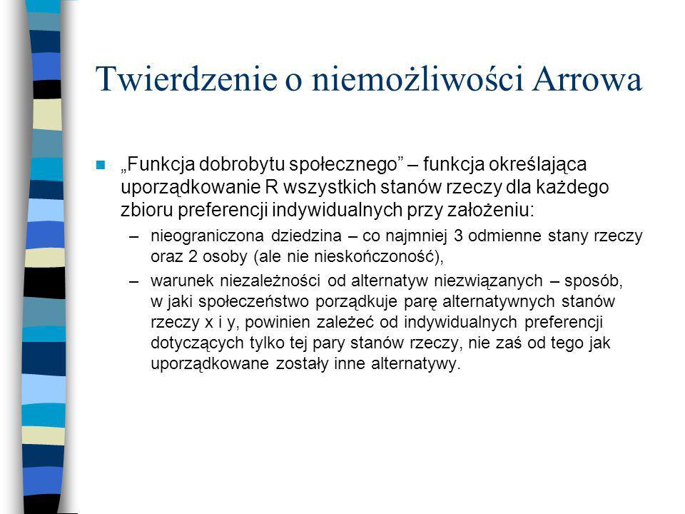 """Twierdzenie o niemożliwości Arrowa """"Funkcja dobrobytu społecznego"""" – funkcja określająca uporządkowanie R wszystkich stanów rzeczy dla każdego zbioru"""