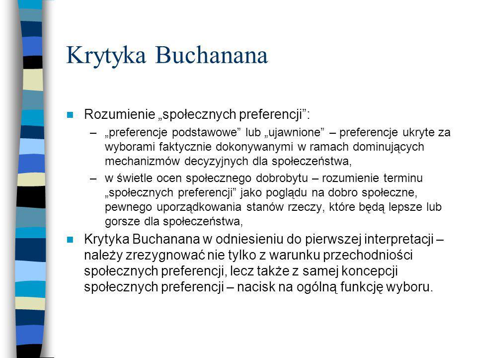 """Krytyka Buchanana Rozumienie """"społecznych preferencji"""": –""""preferencje podstawowe"""" lub """"ujawnione"""" – preferencje ukryte za wyborami faktycznie dokonywa"""