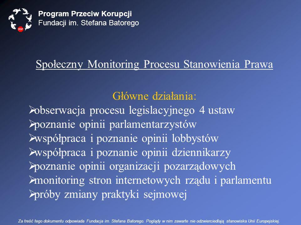 Program Przeciw Korupcji Fundacji im. Stefana Batorego Społeczny Monitoring Procesu Stanowienia Prawa Główne działania:  obserwacja procesu legislacy