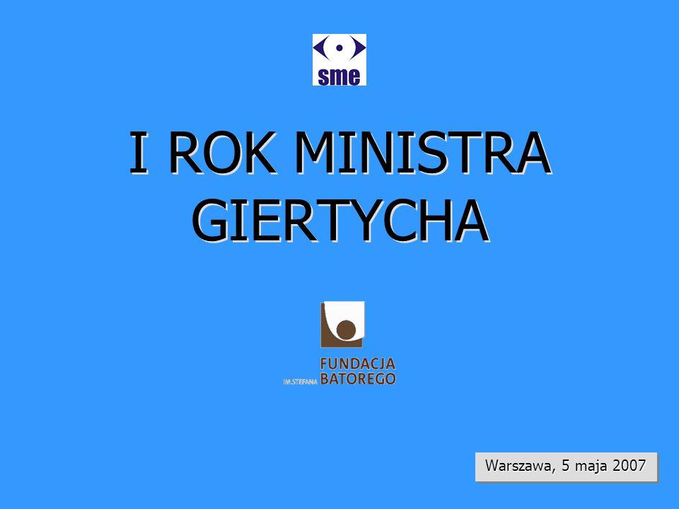 I ROK MINISTRA GIERTYCHA Warszawa, 5 maja 2007