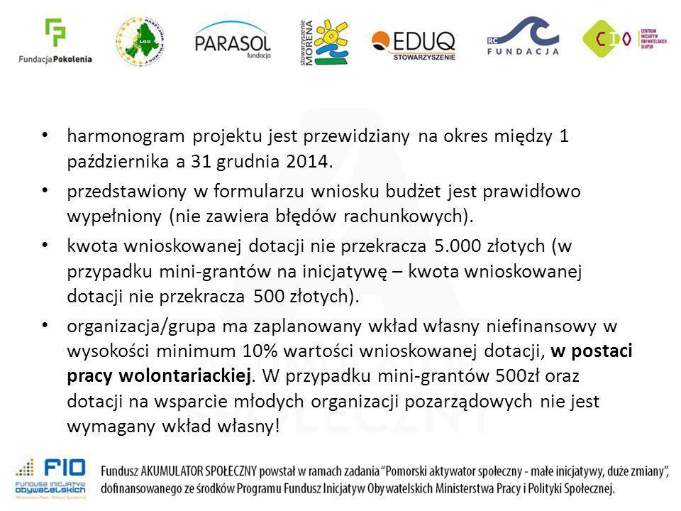 harmonogram projektu jest przewidziany na okres między 1 października a 31 grudnia 2014. przedstawiony w formularzu wniosku budżet jest prawidłowo wyp