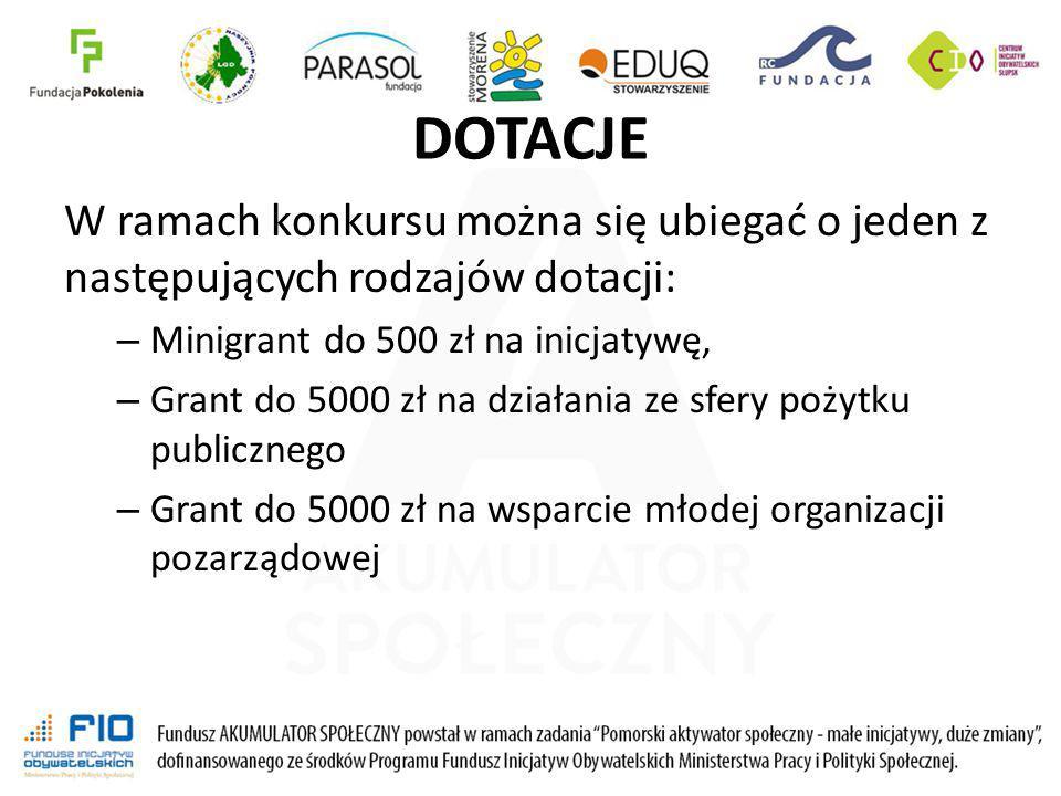 DOTACJE W ramach konkursu można się ubiegać o jeden z następujących rodzajów dotacji: – Minigrant do 500 zł na inicjatywę, – Grant do 5000 zł na dział