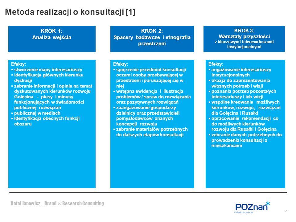 Rafał Janowicz _ Brand & Research Consulting 8 Krok 4a: Sonda internetowa na stronach Miasta Krok 4c: Sondaż uliczny (nie mniej niż 200 mieszkańców) Jak.