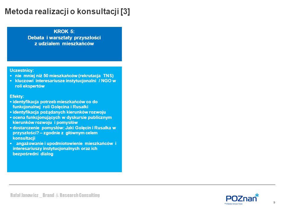 Rafał Janowicz _ Brand & Research Consulting 9 KROK 5: Debata i warsztaty przyszłości z udziałem mieszkańców Uczestnicy:  nie mniej niż 50 mieszkańcó