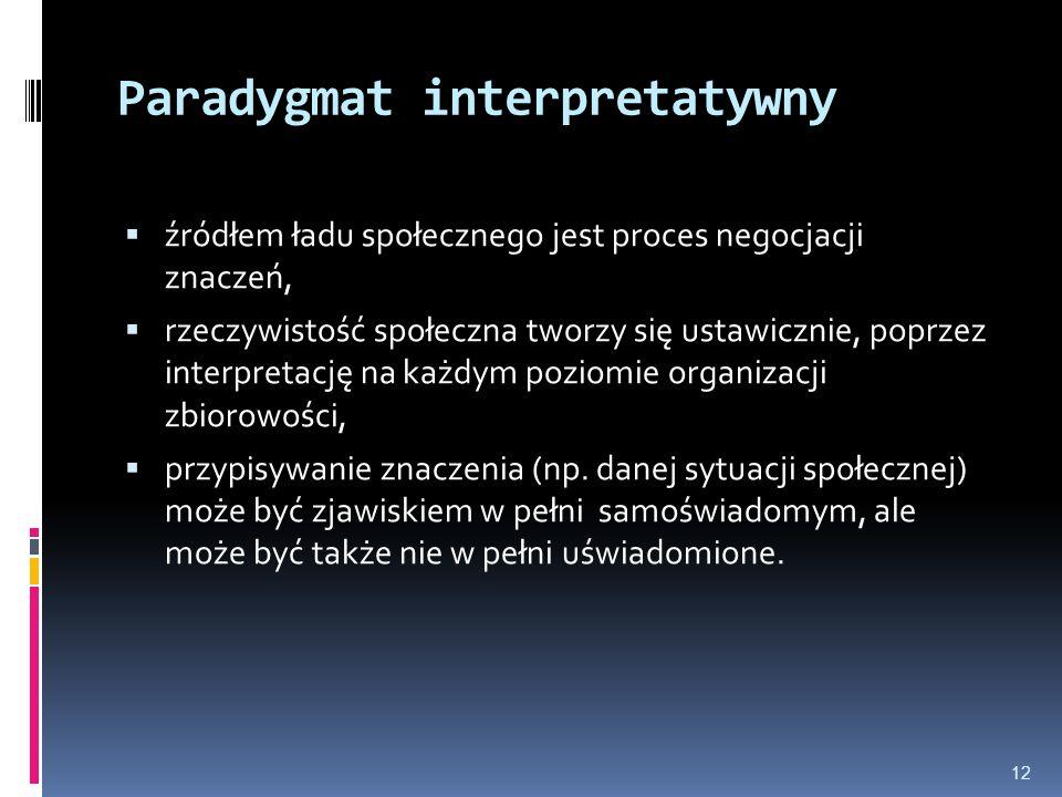 Paradygmat interpretatywny  źródłem ładu społecznego jest proces negocjacji znaczeń,  rzeczywistość społeczna tworzy się ustawicznie, poprzez interp