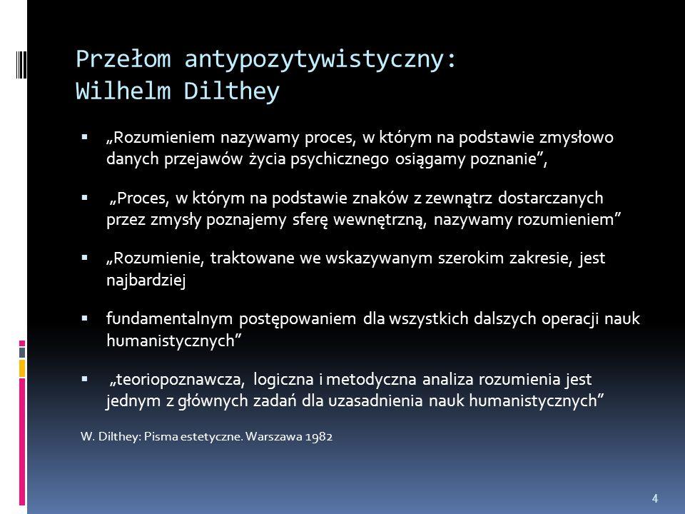 """Przełom antypozytywistyczny: Wilhelm Dilthey  """"Rozumieniem nazywamy proces, w którym na podstawie zmysłowo danych przejawów życia psychicznego osiąga"""