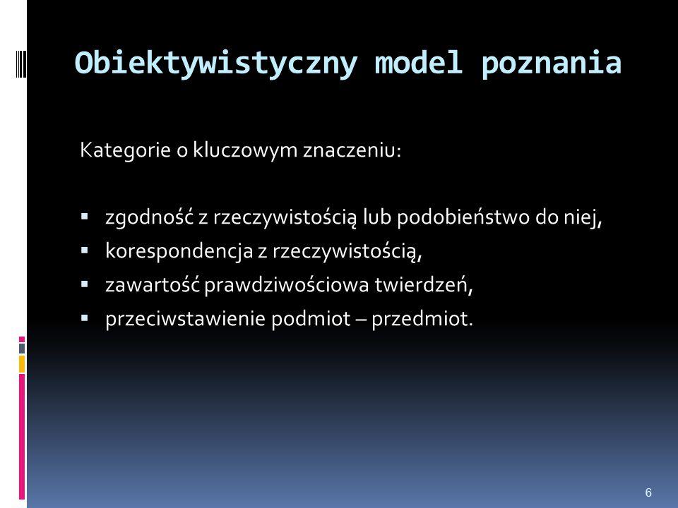 Obiektywistyczny model poznania Kategorie o kluczowym znaczeniu:  zgodność z rzeczywistością lub podobieństwo do niej,  korespondencja z rzeczywisto