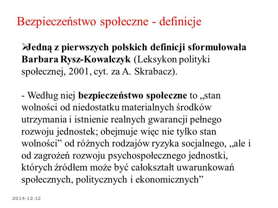 2014-12-12 Bezpieczeństwo społeczne - definicje  Jedną z pierwszych polskich definicji sformułowała Barbara Rysz-Kowalczyk (Leksykon polityki społecz
