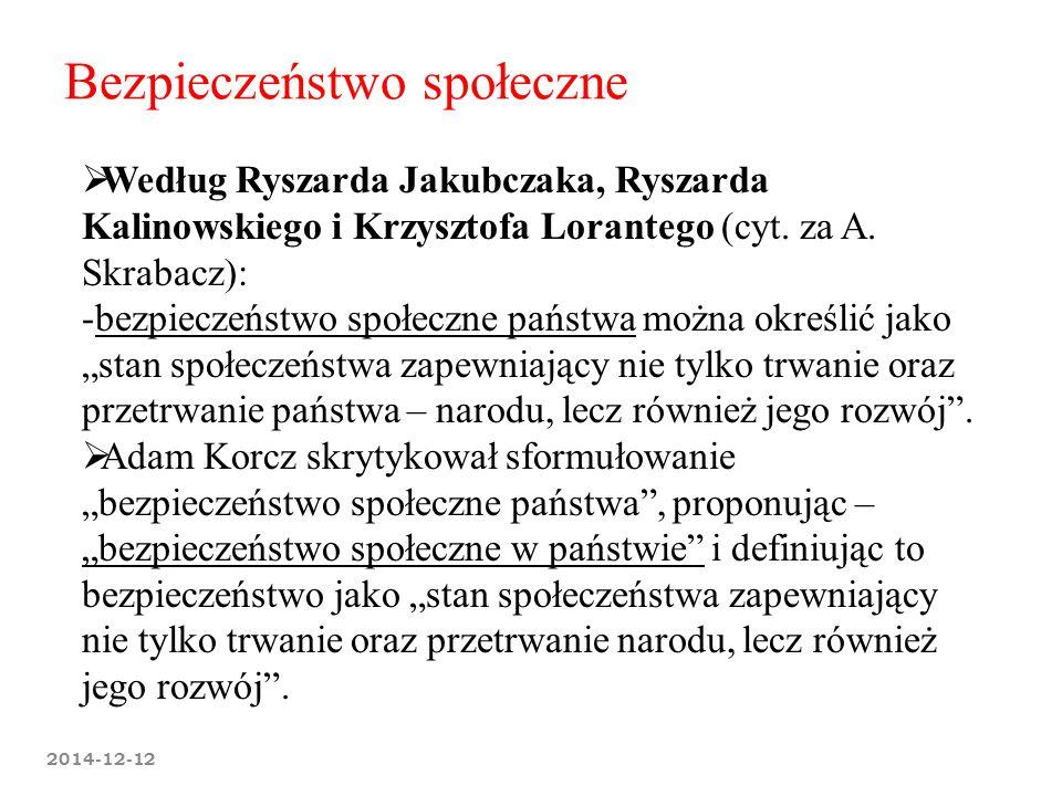 2014-12-12 Bezpieczeństwo społeczne  Według Ryszarda Jakubczaka, Ryszarda Kalinowskiego i Krzysztofa Lorantego (cyt. za A. Skrabacz): -bezpieczeństwo
