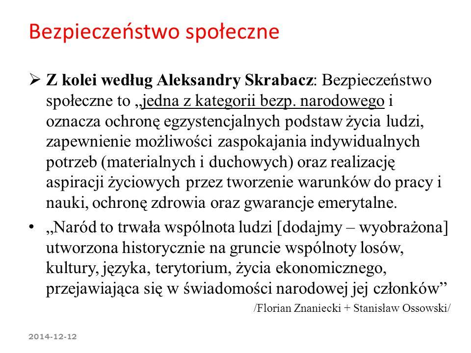 """Bezpieczeństwo społeczne  Z kolei według Aleksandry Skrabacz: Bezpieczeństwo społeczne to """"jedna z kategorii bezp. narodowego i oznacza ochronę egzys"""