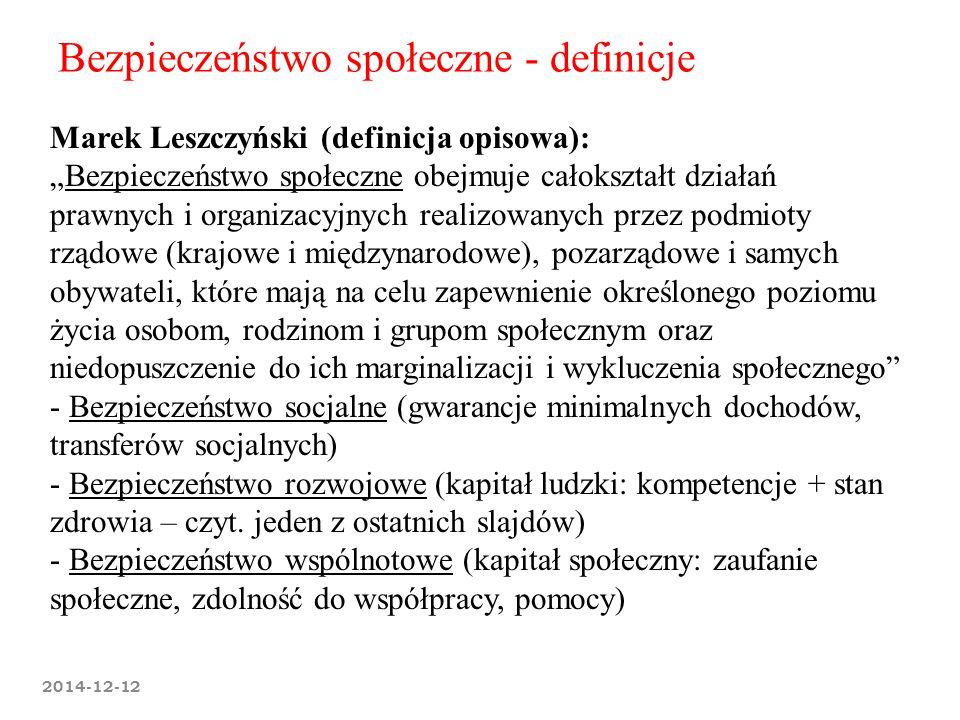 """Bezpieczeństwo społeczne - definicje Marek Leszczyński (definicja opisowa): """"Bezpieczeństwo społeczne obejmuje całokształt działań prawnych i organiza"""