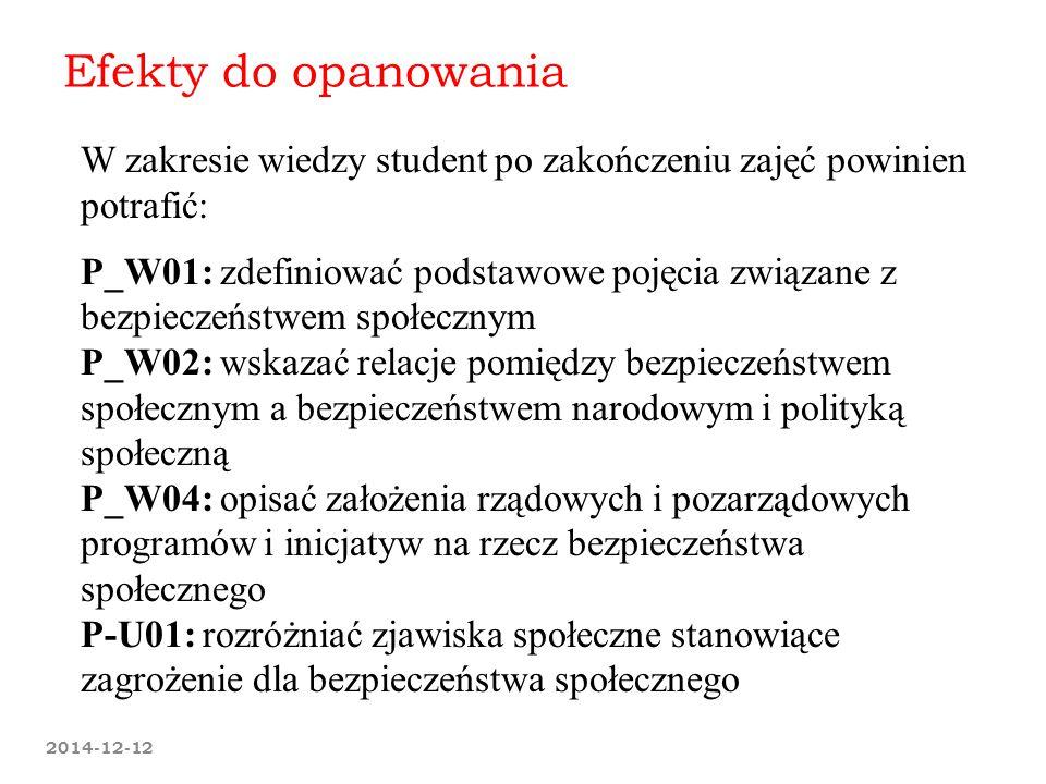 2014-12-12 Efekty do opanowania W zakresie wiedzy student po zakończeniu zajęć powinien potrafić: P_W01: zdefiniować podstawowe pojęcia związane z bez