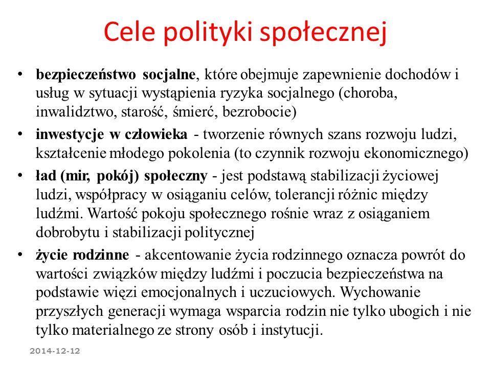 Cele polityki społecznej bezpieczeństwo socjalne, które obejmuje zapewnienie dochodów i usług w sytuacji wystąpienia ryzyka socjalnego (choroba, inwal