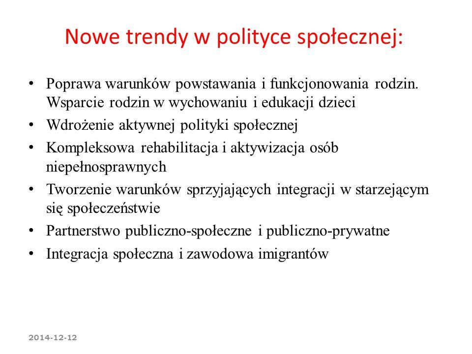 Nowe trendy w polityce społecznej: Poprawa warunków powstawania i funkcjonowania rodzin. Wsparcie rodzin w wychowaniu i edukacji dzieci Wdrożenie akty