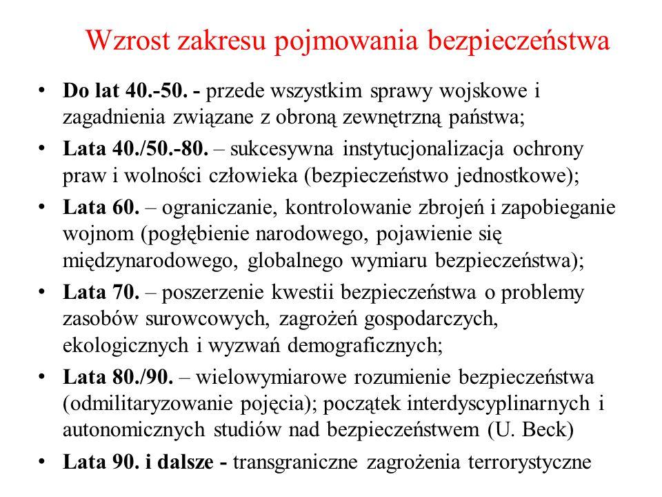 Wzrost zakresu pojmowania bezpieczeństwa Do lat 40.-50. - przede wszystkim sprawy wojskowe i zagadnienia związane z obroną zewnętrzną państwa; Lata 40