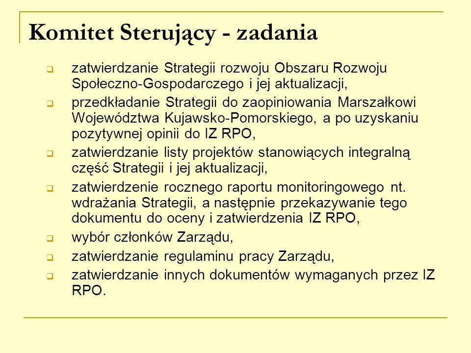 Komitet Sterujący - zadania  zatwierdzanie Strategii rozwoju Obszaru Rozwoju Społeczno-Gospodarczego i jej aktualizacji,  przedkładanie Strategii do zaopiniowania Marszałkowi Województwa Kujawsko-Pomorskiego, a po uzyskaniu pozytywnej opinii do IZ RPO,  zatwierdzanie listy projektów stanowiących integralną część Strategii i jej aktualizacji,  zatwierdzenie rocznego raportu monitoringowego nt.