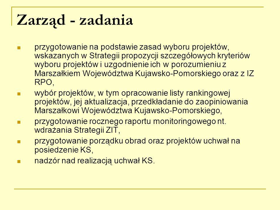 Zarząd - zadania przygotowanie na podstawie zasad wyboru projektów, wskazanych w Strategii propozycji szczegółowych kryteriów wyboru projektów i uzgodnienie ich w porozumieniu z Marszałkiem Województwa Kujawsko-Pomorskiego oraz z IZ RPO, wybór projektów, w tym opracowanie listy rankingowej projektów, jej aktualizacja, przedkładanie do zaopiniowania Marszałkowi Województwa Kujawsko-Pomorskiego, przygotowanie rocznego raportu monitoringowego nt.