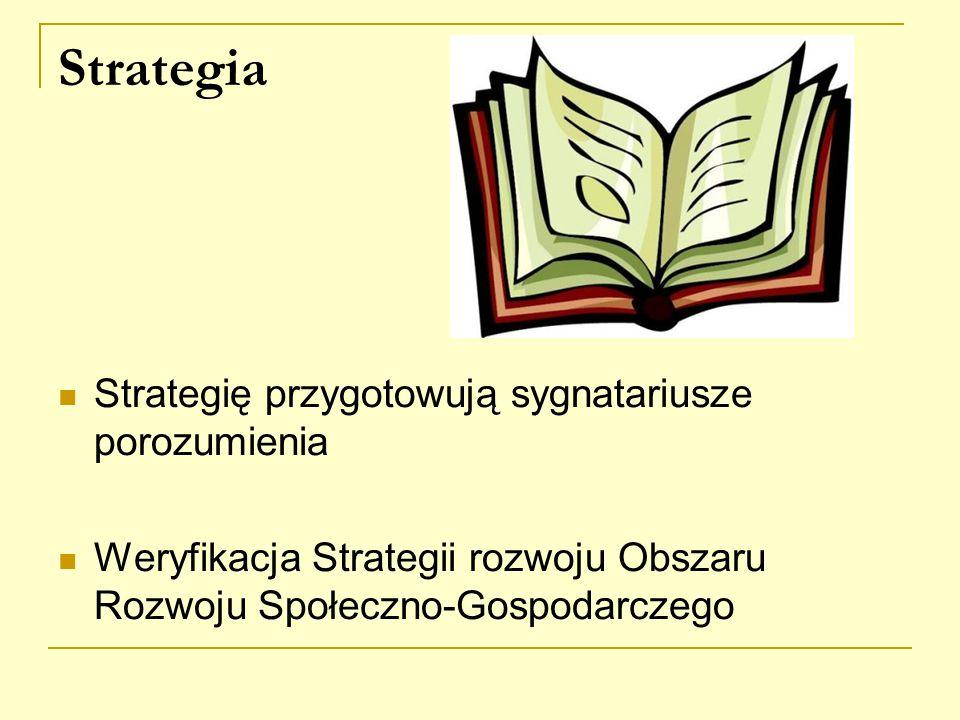 Strategia Strategię przygotowują sygnatariusze porozumienia Weryfikacja Strategii rozwoju Obszaru Rozwoju Społeczno-Gospodarczego