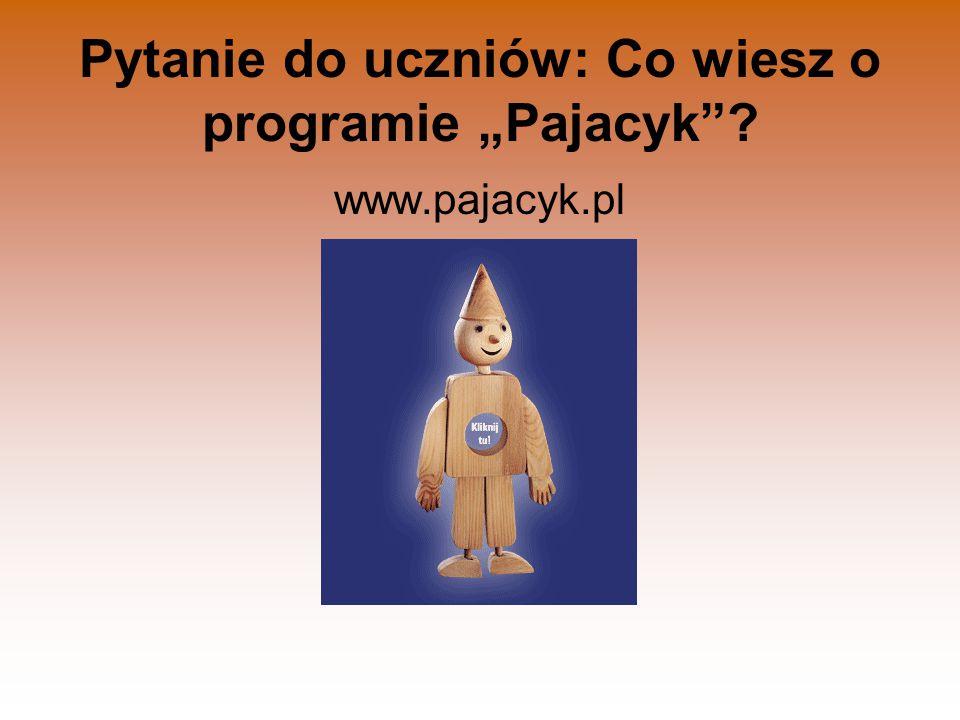"""Pytanie do uczniów: Co wiesz o programie """"Pajacyk""""? www.pajacyk.pl"""