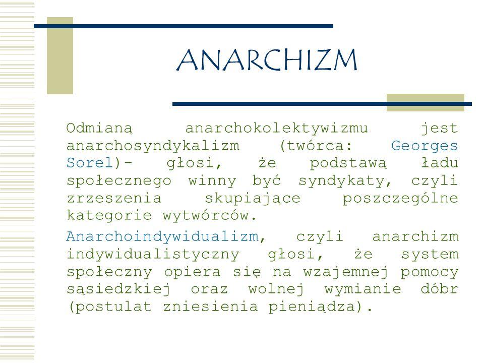 ANARCHIZM Odmianą anarchokolektywizmu jest anarchosyndykalizm (twórca: Georges Sorel)- głosi, że podstawą ładu społecznego winny być syndykaty, czyli zrzeszenia skupiające poszczególne kategorie wytwórców.