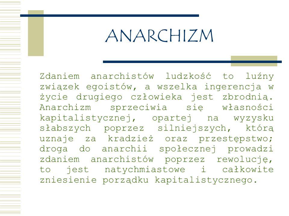 ANARCHIZM Zdaniem anarchistów ludzkość to luźny związek egoistów, a wszelka ingerencja w życie drugiego człowieka jest zbrodnią.