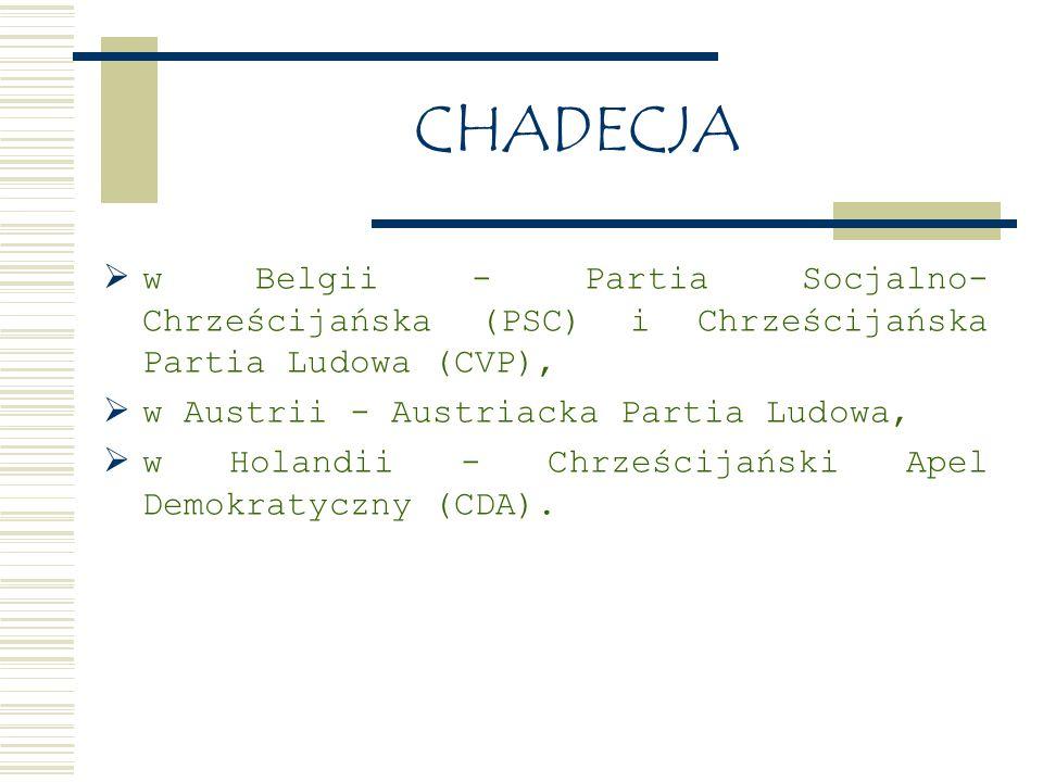 CHADECJA  w Belgii - Partia Socjalno- Chrześcijańska (PSC) i Chrześcijańska Partia Ludowa (CVP),  w Austrii - Austriacka Partia Ludowa,  w Holandii - Chrześcijański Apel Demokratyczny (CDA).