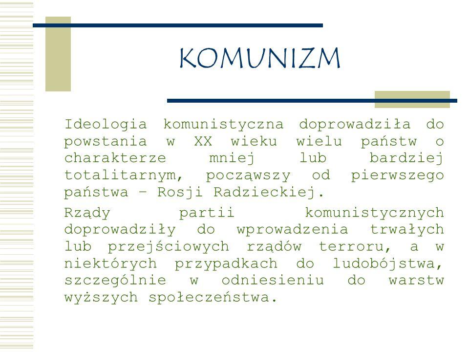 KOMUNIZM Ideologia komunistyczna doprowadziła do powstania w XX wieku wielu państw o charakterze mniej lub bardziej totalitarnym, począwszy od pierwszego państwa – Rosji Radzieckiej.