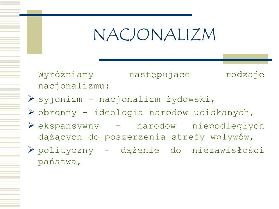 NACJONALIZM Wyróżniamy następujące rodzaje nacjonalizmu:  syjonizm - nacjonalizm żydowski,  obronny - ideologia narodów uciskanych,  ekspansywny - narodów niepodległych dążących do poszerzenia strefy wpływów,  polityczny - dążenie do niezawisłości państwa,